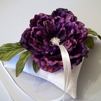 Ring Bearer Pillow - Ivory Silk with Purple Peony | WhiteThistleBridalDesigns - Wedding on ArtFire