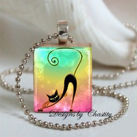 Trendy Kitty Rainbow Colors Scrabble Necklace | chastity00 - Jewelry on ArtFire