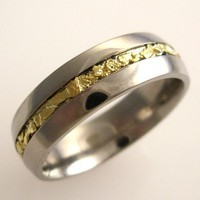 Mens Titanium Band with Natural Gold Nugget Inlay | DougPetersonJewelers - Jewelry on ArtFire