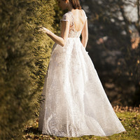 White shine lace wedding dress