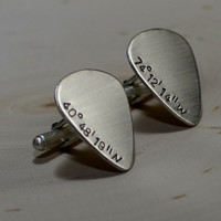 Sterling silver coordinate guitar pick cuff links with latitude and longitude