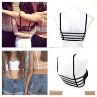 NEW Woman's Strappy 4 Strap Caged Black Bralette Sports Fashion Festival Beach Preppy Bra