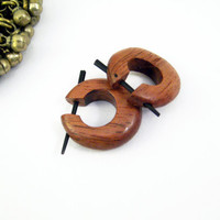 Hoop Post Earring Wood Hand Carved Tribal Style  by organicethnic