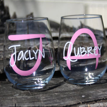 7 Personalized Monogram Stemless Wine Glasses. Great for bachelorette and wedding parties. Custom Lip Wine glasses.