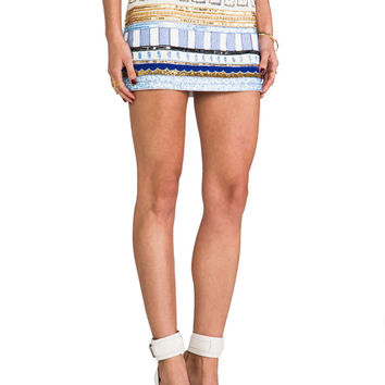 Pia Pauro Embellished Mini Skirt in Baby Blue