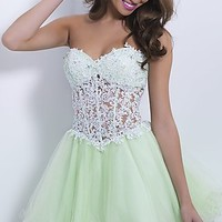 Strapless Homecoming Dress with Corset Bodice