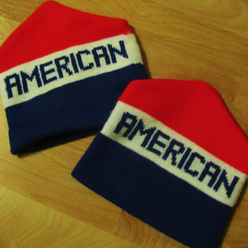 vintage AMERICAN winter cap. USA cap. pround to be an American. vintage winter hat