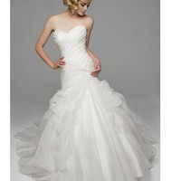 A-line sweetheart strapless 2012 organza white wedding dresses BAHD0039 - cheap price 2012 online shop for sale.