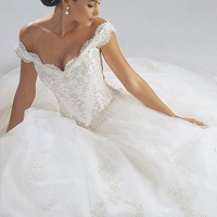 Buy Beautiful Satin Off-the-Shoulder Wedding Dress