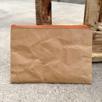 Kraft fabric paper clutch wallet zipper large bag