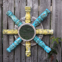 Beachy Nautical Style Mirror Up Cycled by TheSavvyShopper1 on Etsy