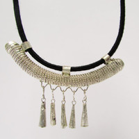 African Black Collier, Black and Silver Traditional Ethiopian Necklace, Ecofriendly Ethnic Jewelry