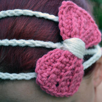 Princess bow headband in mauve and white, bow tie crochet headband, Three strand crochet hairband