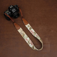 Camera Neck Strap - DLSR Camera Strap for Nikon Canon Sony -  Floral Print Cotton Camera Strap