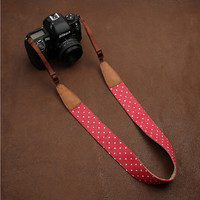 100% Cotton+ Leather  Camera Strap - DLSR Camera Strap for Canon Nikon Sony - Camera Strap Red Mini dots