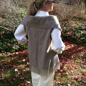 ALPACA Poncho Vest  with Big Pocket Custom