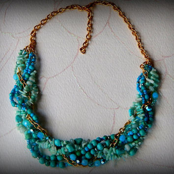 Turquoise and Gold Braided Statement necklace