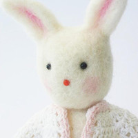 Needle felted art toy  bunny with felt bear toy  by feltstories