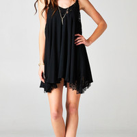 SPAGHETTI STRAP BABYDOLL LACE DRESS - BLACK