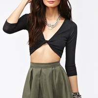 Varsity Pleated Skirt - Army Green  in  What's New at Nasty Gal