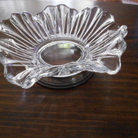 vintage glass sterling candy dish fluted by therudicollection