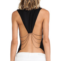 Haute Hippie Drape Chain Tank in Black