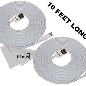 Hi Cord Inc 2pcs 3 Meter/10 Feet Extra Long High Quality Thickness Cable 8 Pin To USB Sync Data Transfer Charger For iPhone 5 5S 5C iPad 4th iPad Air 5th New iPad Mini Retina Screen iPad Mini iPod Touch 5th Nano 7th+Free Hi Cord Inc Cleaning Cloth With Log