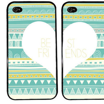 BEST FRIENDS AZTEC bff Case / Tribal Arrows Pattern Green Envy iPhone 4 Case iPhone 5 Case iPhone 4S Case iPhone 5S 5C Triangle Pattern