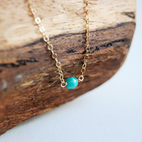 Kahoni necklace  tiny turquiose bead on a gold by kealohajewelry