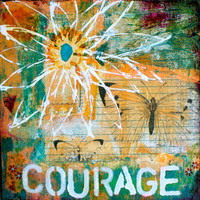 Courage 8x8 Mixed Media Original on Wood by KathleenTennant