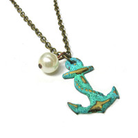 Nautical Anchor Mint Green Verdigris Necklace with by SovereignSea
