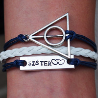 Sister Bracelet, Customized Bracelet,  Harry potter Bracelet, Personalized engraved bracelet, heart to heart Bracelet, Best Gift Sister
