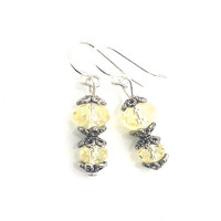 Yellow Earrings, Pale, Small, Filagree, Silver, Swarovski Crystal, Everyday, Romantic Jewelry, Light Yellow