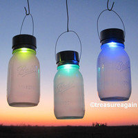 2 Color Changing Mason Jar Solar Lights, Ball Rotating Color Solar Jar Lanterns, 2 Frosted Jars with Hanging Mason Jar Solar Lids