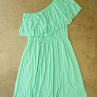 Sweet Ruffled Mint Dress [2694] - $32.00 : Vintage Inspired Clothing & Affordable Summer Dresses, deloom | Modern. Vintage. Crafted.
