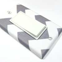 White and Gray Chevron Decora Light Switch Cover by ModernSwitch