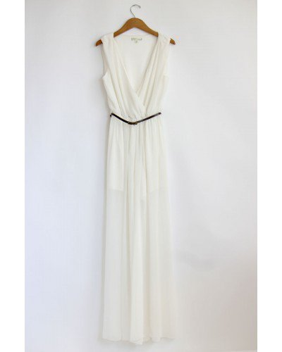 White Chiffon Jumpsuit