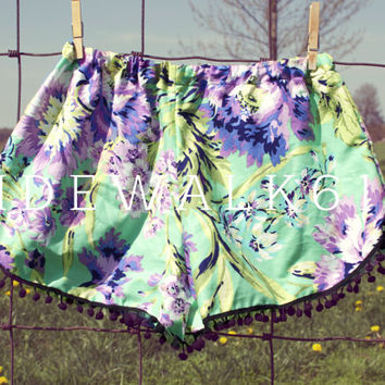 Green and Lilac Floral Pom Shorts