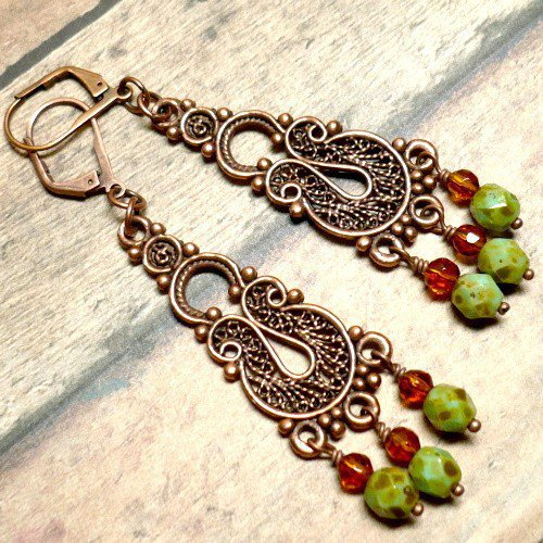 Czech Green Picasso and Antique Copper Bali Style Chandelier Earrings | KatsAllThat - Jewelry on ArtFire