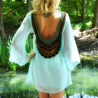 Sunburst Mint Crochet Back Dress