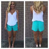 Laser Cut Shorts - Teal
