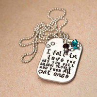 "TFIOS Necklace - ""I fell in love the way you fall asleep: slowly and then all at once."" // The Fault in Our Stars"