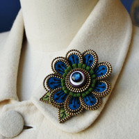 Felt and zipper  flower brooch deep turquoise by woollyfabulous