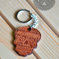Sugar Skull Real wood key chain laser engraved FREE Shipping in USA