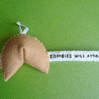 Felt Ornament Funny Zombie Fortune Cookie by TheOffbeatBear