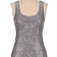 Scoop neck lace tank with sequins
