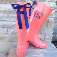 Coral Rain Boot with Your Choice of Custom Bow and Monogram