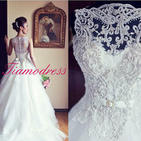 Wedding dress Pure handmade Bridal Ball gown Lace wedding dress Handmade wedding dress Church Bridal Ball Gown Beach wedding dress