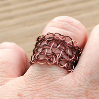 Wire Wrapped Crocheted Ring Brown and Copper by KissMeKrafty