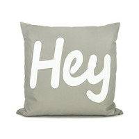 Gray and white pillow cover White HEY applique by ClassicByNature